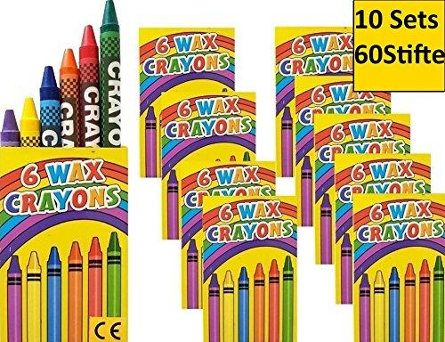 10 Set x6 Wachsmalstifte crayons Wachsmalkreide für Kinderparty Hochzeit Kindergeburtstag Geschenk...