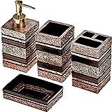 Bathroom Accessory Set 4 Piece Soap Dish Dispenser Tumbler Toothbrush Holder Gift - Rayan Direct