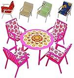 alles-meine.de GmbH 9 TLG. Set: Gartenmöbel mit 4 Stühle und Tisch + 4 Stuhlauflagen -  BUNT  - Plastik / Kunststoff - Miniatur - Möbel Set - z.B. für Puppenstube Puppenhaus / ..