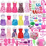 Picture Of 106 Pcs Barbie Doll Clothes Set Include 15 Pack Barbie Clothes Party Grown Outfits And Randomly 90 Pcs Different Barbie Doll Accessories - The Great Gift For Little Girl
