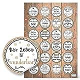 Logbuch-Verlag 24 Aufkleber Motivation Sprüche rund beige grau Motivationssticker Belohnung Mut Glück Wünsche basteln dekorieren Verpackung