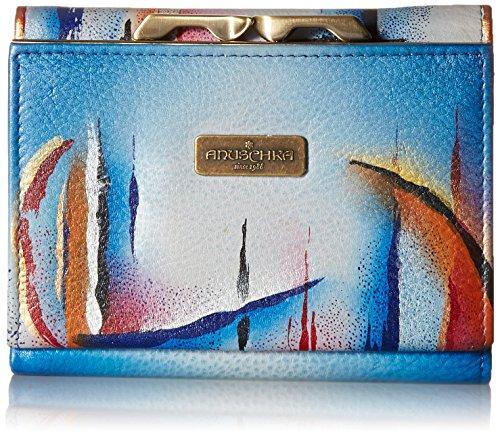 Anuschka handbemalt Designer Leder Geldbörse für Frauen-RFID Blockierung Diebstahlsicherung, Damen Französisch Geldbörse mit Münzfach (Northern Skies 1138 NSK) (Geldbörse Damen-französisch)