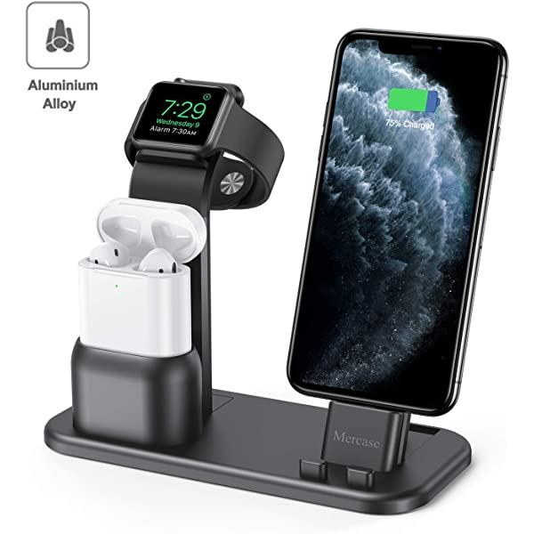 Mercase Apple Charging Stand, 3 in 1 Aluminum Charger Dock