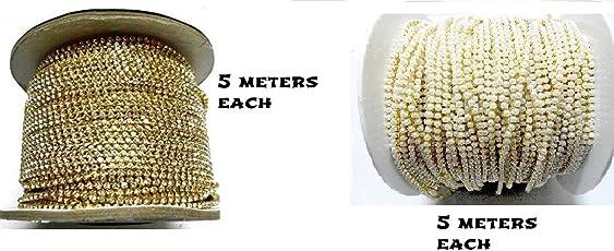 Goelx Stone Chain & Pearl Chain 10 Mtr Pack For Jewellery Making/Silk Thread Jumka,Bangles