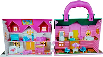 Toyshine Mini Foldable Twin-sided Doll House with Toy Accessories