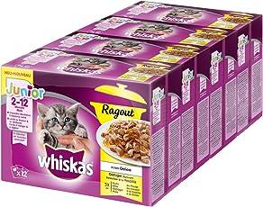 Whiskas Katzen-/Nassfutter Ragout Geflügelauswahl Junior, für Junge Kätzchen, 4 Packungen (4 x 12 x 100 g)