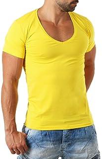 f455d5faee286b Young Rich   Rerock Herren Uni T-Shirt mit extra tiefem V-Ausschnitt  Slimfit deep