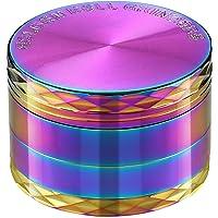"""LIHAO 2""""(5cm) Grinder Moulin à Herbes Épices en Zinc Alliage en 4 pièces - Coloré avec Décorations en Forme de Losanges"""