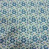 Stoff Baumwollstoff Meterware Mosaik petrol grün blau Stern Würfel Linien Dreieck Frankreich