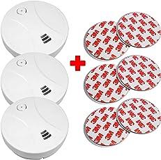 3x Rauchmelder inkl. Magnethalter Klebepads Brandmelder Feuermelder ohne bohren