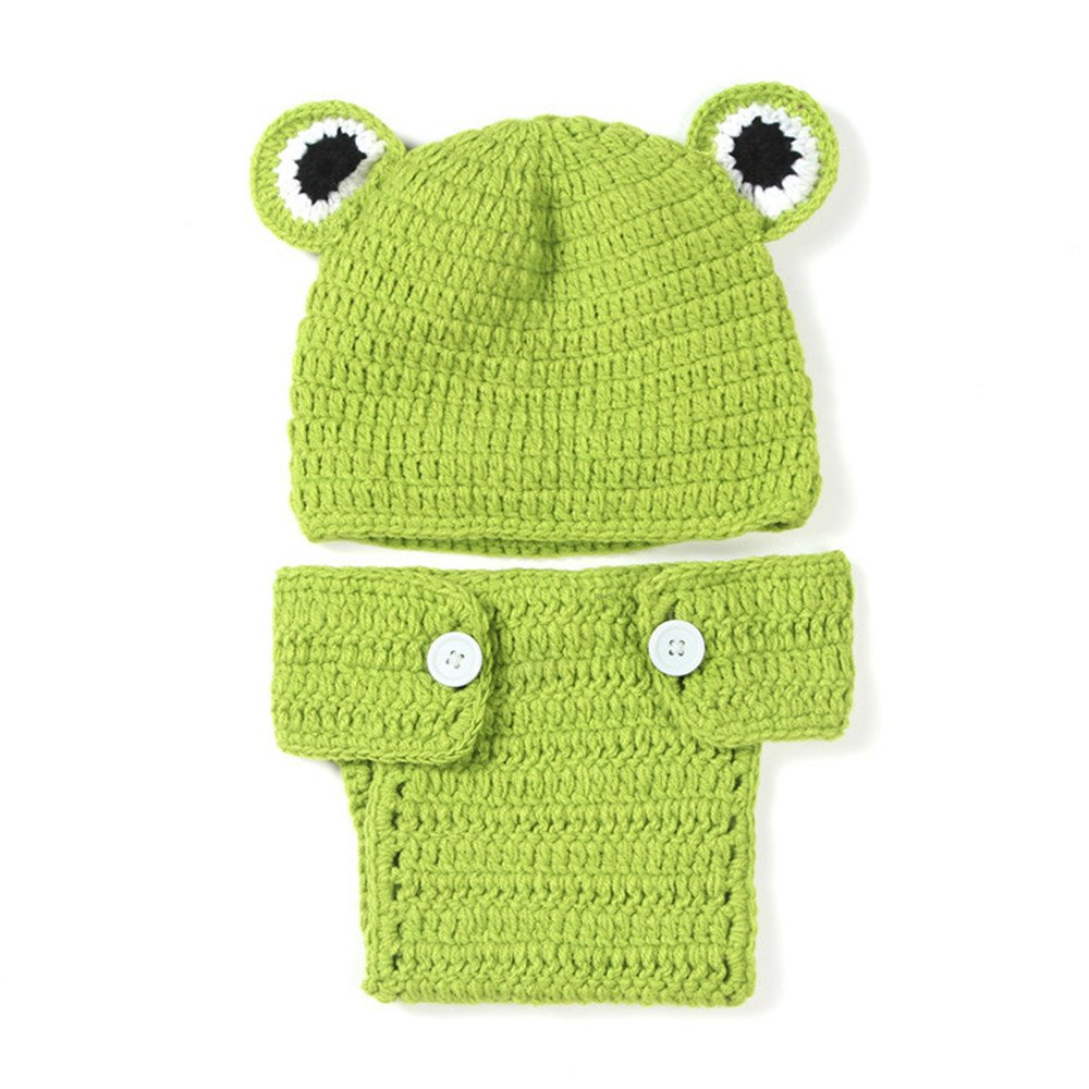 2PCS cappello + pantaloni lovely Animal Frog abiti Baby set invernale caldo Toddlers Handmade neonat