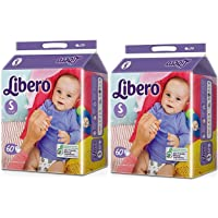 Libero Small Size White Open Diaper (60 Count) - Pack of 2