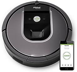 IRobot Roomba 960 Saugroboter, App-Steuerung (hohe Reinigungsleistung, keine Verhedderungen und mit Dirt Detect, reinigt alle Hartböden und Teppiche, ideal bei Tierhaaren, WLAN-fähig) silber