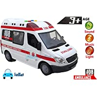 FunBlast Ambulance Toy for Kids with Light & Siren Sound Effects – Pull Back Friction Power Ambulance Vehicle Toy for Kids,Boys,Girls