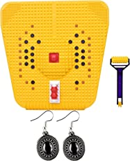 Box On Magic Acupressure Mat (Magnets n Pyramids) for Total Health Useful for Heel-Knee-Leg Pain-Sciatica-Cramps-Migraine-Depression (Yellow)+One Pair Ear Ring Set-M-3K-02