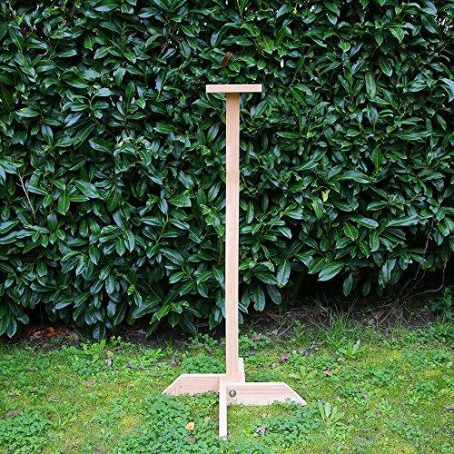 Pied pour mangeoires et nichoirs à oiseaux en bois massif 125cm, Fabrication artisanale
