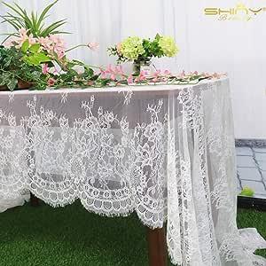 Shinybeauty Spitze Tischdecke Weiße Tischdecken Rechteck 60 X 120 Zoll Weiße Spitze Tischdecke Hochzeit Tischdecke Weihnachten Tischdecke Leinen Tischdecken Leinen Blume Tischdecke Weiß 013 Küche Haushalt