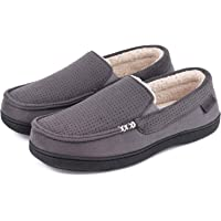 VeraCosy Men's Comfy Suede Memory Foam Moccasin Slippers Warm Sherpa Lining House Shoes with Anti-Skid Rubber Sole