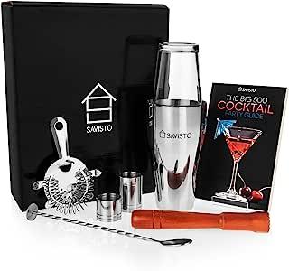 Savisto Premium Cocktail Set mit Boston Cocktail Schüttelbecher, Glas, Rezeptbuch mit 500 Rezepten, 25ml & 50ml Messbecher, gedrehtem Barlöffel, Sieb, Holzstössel, Elegante Geschenkbox