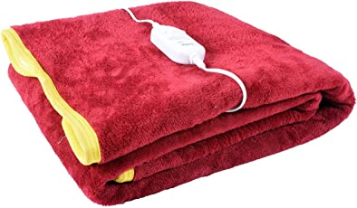 Home Elite Solid Single Electric Blanket - Red