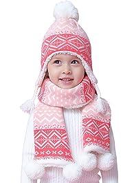 Snyemio Enfants Bébé Fille Bonnet Hiver Chapeaux Écharpe Set Mignon Chaud  Tricoté Pompom 6-36Mois f127de94ac1