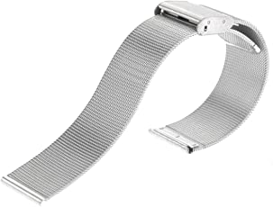 Pixnor 20mm Adjustable Ultra-Thin Stainless Steel Mesh Watch Band Strap (Silver)