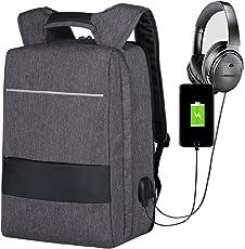 Mbuynow Zaino per PC 17 Pollici Antifurto, Borse Impermeabile per Laptopcon Porta di USB, Porta di AUX 3,5mm, Multifunzionale Zaino Convertibile e Compatibile con Bagaglio a Mano (Grigio)