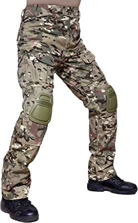 TACVASEN Military Ripstop Cotton Men's Combat Cargo Trousers with KNEE PADS - Multi Camo