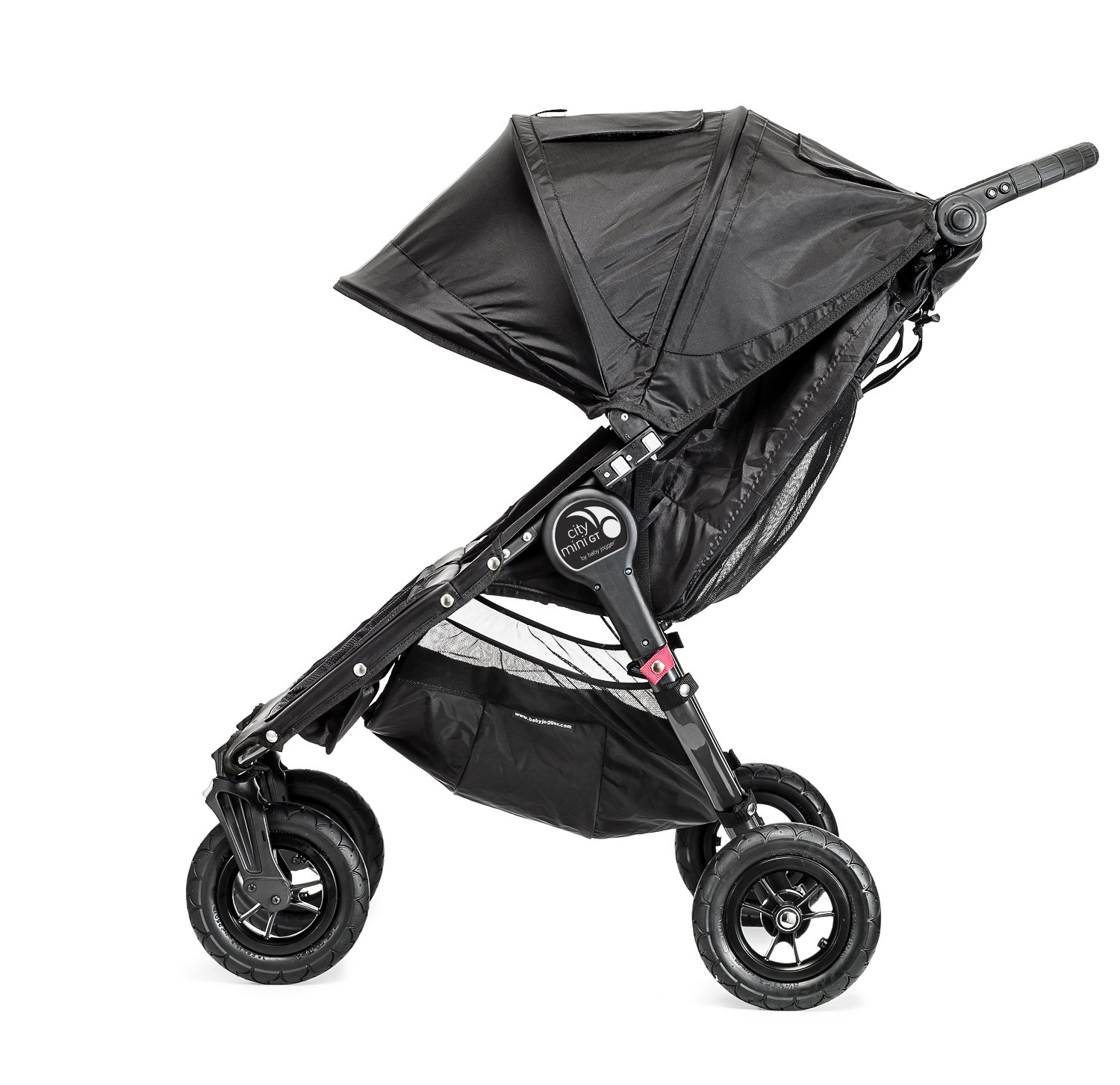 Baby Jogger City Mini GT Double Stroller Black  Taking a little detour is fun, the City Mini GT Double offers all-terrain wheels that let you make your own rules; the all-terrain wheels and front wheel suspension work in unison to give you full control on where and how you go while keeping your little one comfortable Lift the straps and the City Mini GT Double folds itself: Simply and compactly, it really is as easy as it sounds; the auto-lock will lock the pushchair for transportation or storage An adjustable handlebar can accommodate different heights and a hand-operated parking brake keeps all the controls within reach 12