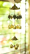 Paradigm Originals Brass Bells Wind Chime For Home Decor - Fancy Decoration Items -Bedroom- Windchime For Home Balcony (Gold, Brass 8 Bell)