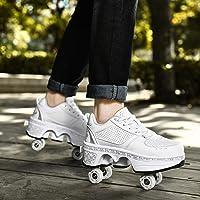YXHUI Pattine A Rotelle, Scarpe con Rotelle Pattini A Rotelle Retrattile Retrattile 4 Ruote Skateboard Sneakers Scarpe…
