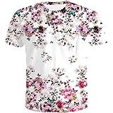 e40c427fd1d5 ZKOOO Hommes T-Shirt Col Rond Rose Fleurs Imprimé Manches Courtes Lâche  Blanc Top Tee