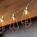 Kupfer geometrische LED Lichterkette – 4 Meter | Batterie-betrieben mit 3x AA Batterie | 20 LEDs warm-weiß | rose gold pyramidenform | Rosegold Deko von CozyHome