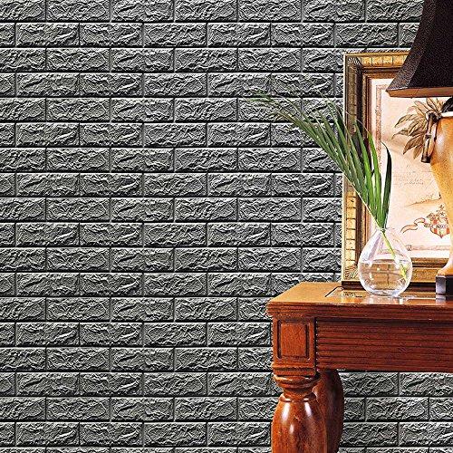 ndsticker PE Schaum 3D Tapete DIY Wandaufkleber Wand Dekor Geprägte Ziegelstein Wohnzimmer Schlafzimmer Dekoration ()