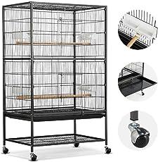 Yaheetech Vogelkäfig Vogelvoliere Käfig für Wellensittiche Kanarienvögeln Vögel mit 4 Rolle