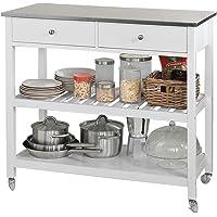 SoBuy® FKW47-W Desserte roulante Chariot de cuisine de 2 étages avec grand plan de travail en Acier Inox