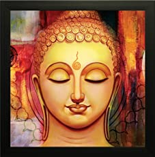 SAF 'Buddha Religious' Painting (Synthetic, 14 inch x 14 inch, SA-1000012)