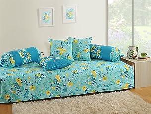 Swayam Shades of India 180 TC 6 Piece Cotton Diwan Set - Multicolour