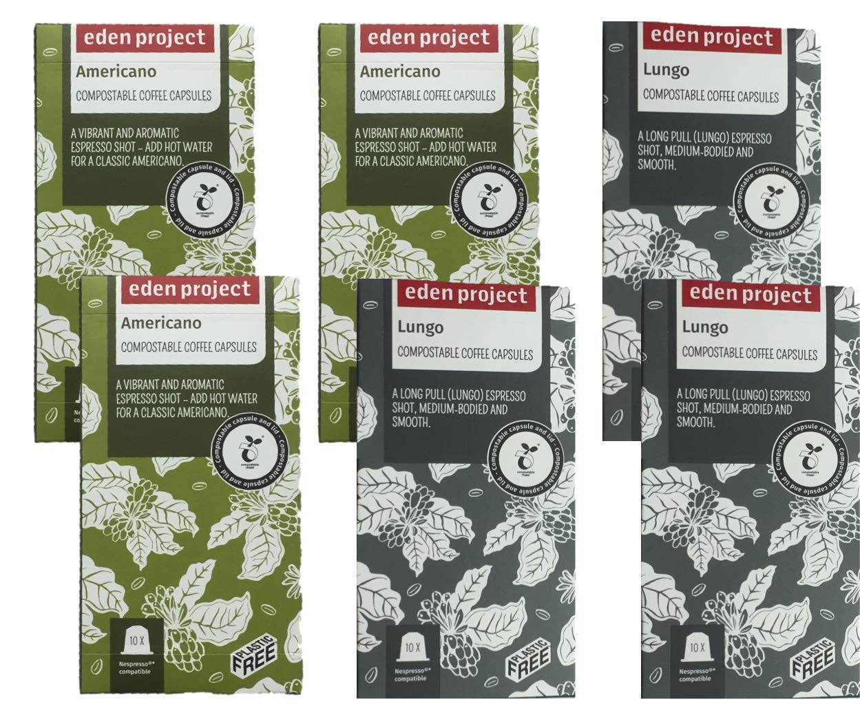 60 Mixed Eden Project Home compostable Nespresso Compatible Capsules (6 x 10)