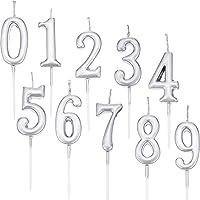 Yaomiao 10 Pièces Bougies d'anniversaire Nombre Bougies de Gâteau Chiffre Nombre 0-9 Topper de Gâteau de Paillettes…