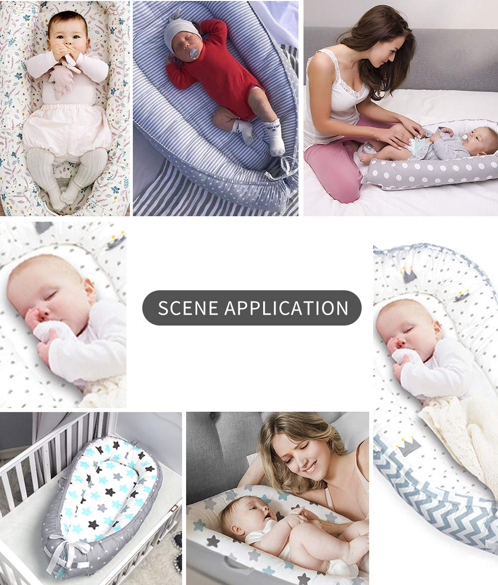 NIUXUAN Newborn Baby Nest Baby Lounger, Portable Soft Breathable Baby Bed, Removable Cover Baby Bionic Bed for Infants Toddlers - 100% Cotton Crib Mattress for Bedroom Travel (Style 12) NIUXUAN 【Soft And Safe Material】Baby Lounger is made of 100% Cotton, and the anti-allergic filling is skin-friendly and breathable, safe in contact with delicate baby skin.The baby will feel warm and comfortable. 【Creative Design】The baby lounger simulates the bionic concept to mimic the mother's warm womb, the baby co sleeping give the baby a full sense of security. Unique recessed interior designed to cradle the baby in bottom, takes away the worry of rolling onto baby in the night and to allow your baby to have deep and nice sleep.It creates a safe space for baby to sleep in bed with parents. 【Dimension】 (L x W) 80cm x 50cm / 31.5in x 19.69in. Total Weight: 0.9kg. Suitable for 0-18 months babies 9
