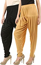 Buy That Trendz Women's Cotton Viscose Lycra Dhoti Patiyala Salwar Harem Bottoms Pants Black White Combo Pack of 2