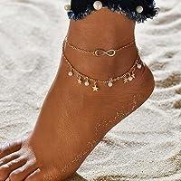 Aukmla - Cavigliera Boho a strati con stella dorata, con ciondolo a perla, per donne e ragazze