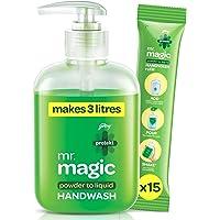 Godrej Protekt mr. magic Powder-to-Liquid Handwash – 1 Bottle + 15 Refills (makes 3 Litres), 99.9% Germ Protection