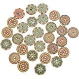 fanshiontide 200 Pcs 20mm 2 Holes Wooden Buttons Vintage Style Wooden Buttons DIY Sewing Craft Buttons Retro Round…