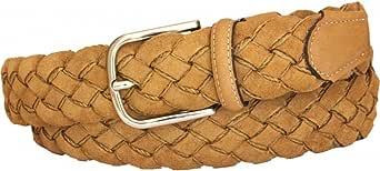 ESPERANTO Cintura uomo donna Intrecciata di Pelle Scamosciata foderata in Cotone altezza 3,5 cm con fibbia nichel free anallergica