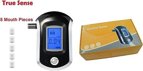 True Sense Portable Digital LCD Display Breath Alcohol Tester Police Breathalyzer Analyser Detector with 5 Mothpiece ALC AT6000