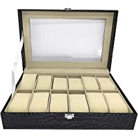 House of Quirk PU Leather 12 Slot Watch Box Display Case Large Holder with Metal Lock (Cob Black)