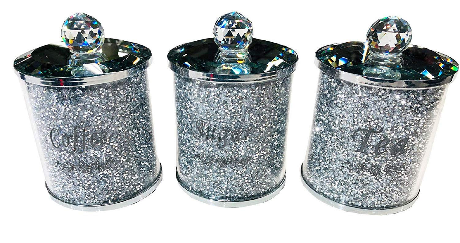 TOV® Diamond Crushed Tea Coffee Sugar CANISTERS Jars Storage Silver Trimmings Crystal Filled
