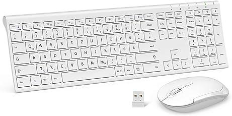 Jelly Comb Wireless Tastatur mit Maus Combo, 2,4Ghz Ultra Dünne Drahtlose Tastatur und Maus Wiederaufladbar Tastatur(QWERTZ, Deutsches Layout) für Laptop PC und Smart TV (Weiß)